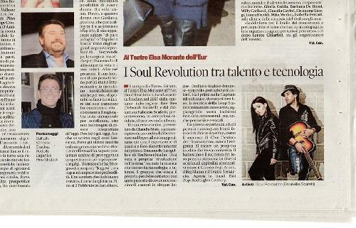 L'articolo del prossimo concerto dei Soul Revolution uscito sul giornale IL TEMPO